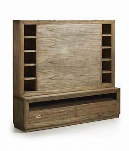 Mur Tv Bois : meuble mur tv en bois de mindy de la collection ronja ~ Teatrodelosmanantiales.com Idées de Décoration