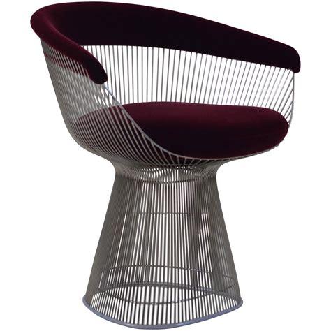 burgundy velvet warren platner wire chair for knoll for