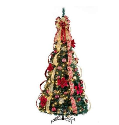 pull up christmas tree with lights 6 1 2 39 lighted pre lit decorated artificial pull up