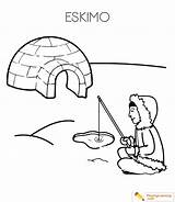 Eskimo Coloring Igloo Pages Sheet Date sketch template