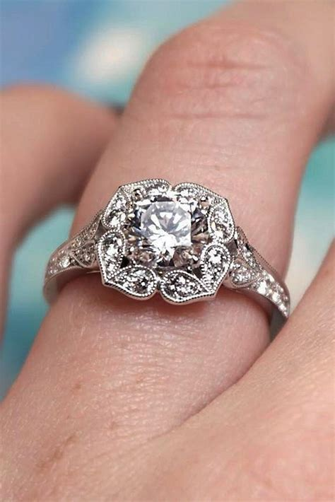 gorgeous  elegant floral engagement rings