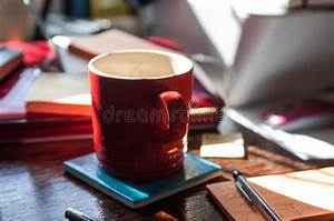 Coffee, Cup, On, A, Desk, Stock, Photo, Image, Of, Pens, Messy