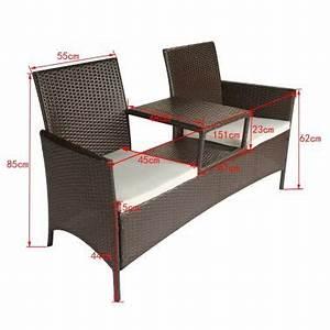 Acheter vidaxl banc de jardin a 2 places et table basse for Tapis d entrée avec canapé 2 places résine tressée pas cher