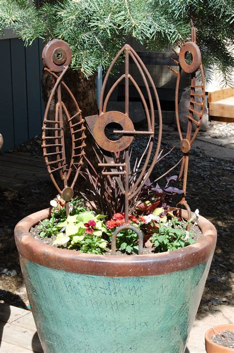 Metal Garden Sculpture Abstract Garden Art Plant Stake