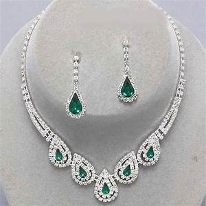 parure mariage bijoux cristal clair et vert emeraude With parure bijoux
