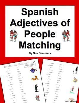 spanish adjectives  people matching worksheet matching