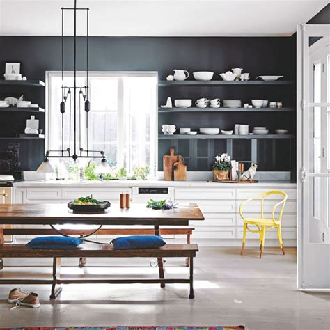 Ideas For New Kitchens - navy kitchen ideas ideal home