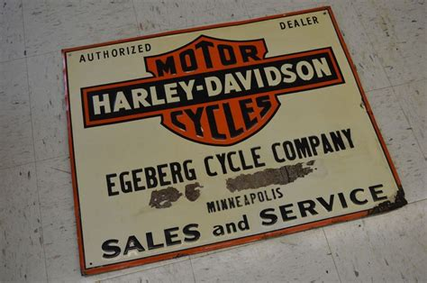 Antique Motorcycle Harley Dealer Steel Sign Eceberg Cycle