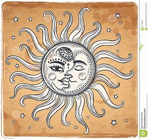 Sun And Moon Vintage Illustration Stock Vector - Image ...