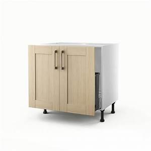 meuble de cuisine sous evier chene clair 2 portes cyclone With meuble sous evier 80 cm leroy merlin