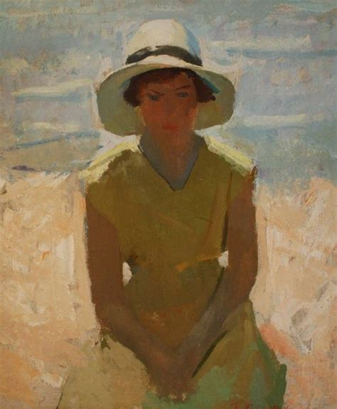 Henry Hensche Young Woman With Hat Mud Head