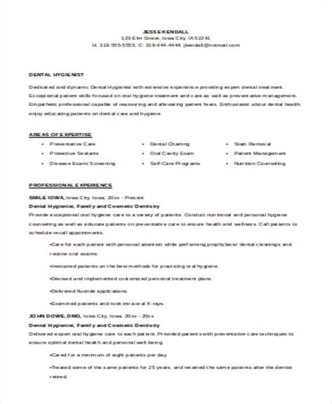 sle dental hygienist resume 8 exles in word pdf