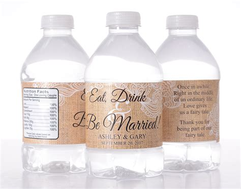 burlap wedding custom water bottle labels labelsrus