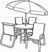Coloring Table Chairs Chair Pages Dining Umbrella Clip Drawing Furniture Library Clipart Printable Getdrawings Print Popular Getcolorings Coloringhome sketch template