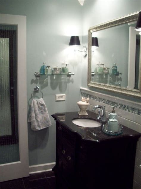 Spa Blue Bathroom by Spa Blue Bathroom Makeover In Black White Blue And