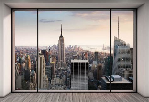poster mural new york wall mural new york city skyline quot penthouse quot photo wallpaper 368x254cm wall ebay