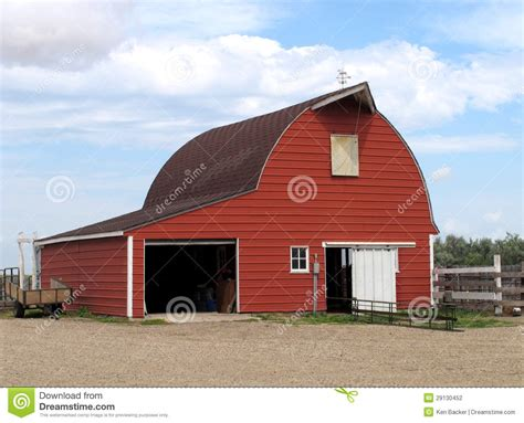 Modern Red Metal Barn. Stock Photo. Image Of Building