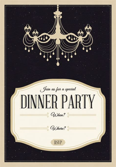 classy chandelier  printable dinner party invitation