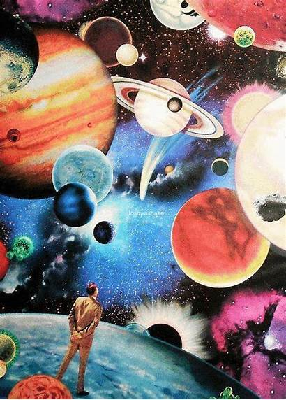 Collage Planets Psychedelic Trippy Galaxy Paintings Mind