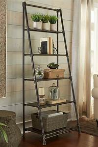 perfect wall ladder bookshelf Decorating: Perfect Leaning Bookshelf Design For Your Home — Corksandcleaver.com