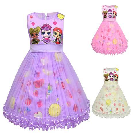 girl princess birthday party ruffle mesh kids dresses