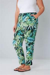 Pantalon harem à imprimé palmier tropical vert et noir