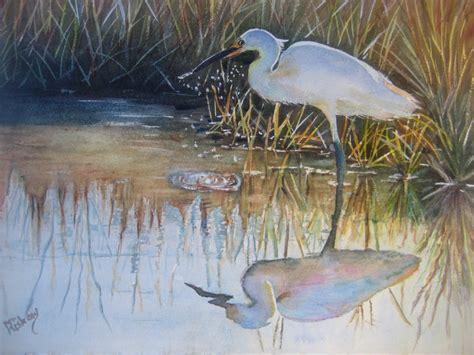Print Of Watercolor Snowy Egret Bird Art By Tivoligardens