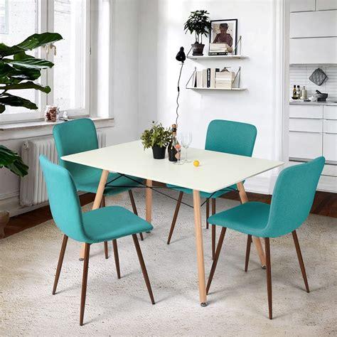 teal kitchen chairs  dark brown legs mid century