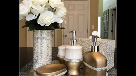 dollar tree diy glam bathroom accessories youtube