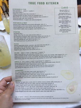 true food kitchen menu menu picture of true food kitchen pasadena tripadvisor