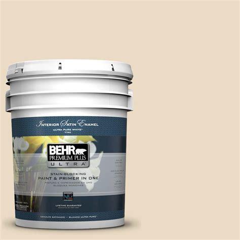 behr premium plus ultra 5 gal 22 navajo white satin enamel interior paint 775005 the home depot