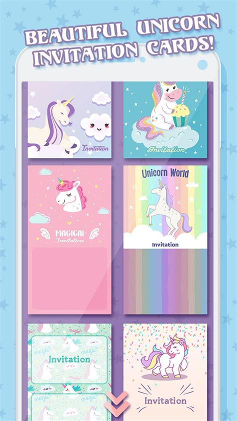 unicorn ulang  undangan kartu  android apk