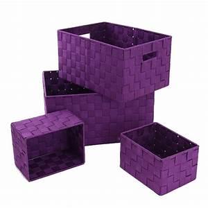 Panier Rangement Salle De Bain : set de 4 paniers de rangement violet ~ Teatrodelosmanantiales.com Idées de Décoration