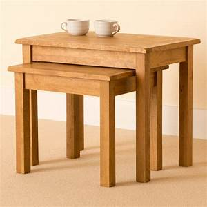 Lanner oak nest of tables rustic side tables small for Two small tables instead of coffee table