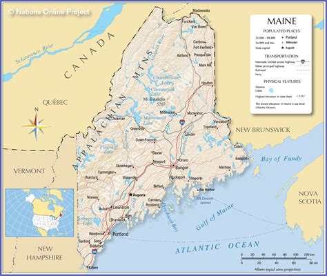 reference maps  maine usa nations  project