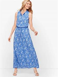 Talbots Dresses Womens Floral Paisley Maxi Dress Blue