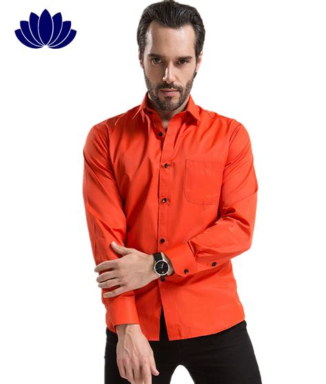 2015 Men Dress Shirts Red OrangeLong SleeveSolid ColorFashion Turn Down Collar Single ...