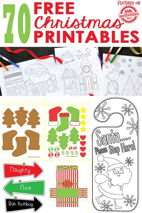 70 FREE CHRISTMAS PRINTABLES Kids Activities