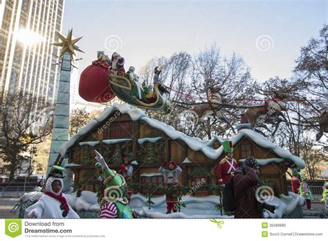 santa claus float  macys  parade editorial stock