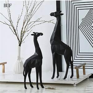 BUF Modern Abstract Giraffe Statue Resin Ornaments Home