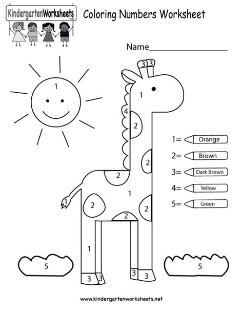 Coloring Pages Coloring Numbers Worksheet Free Kindergarten Math Worksheet For Kids, Math Color