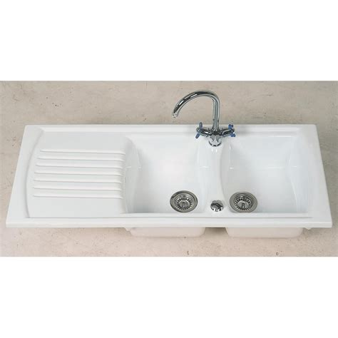 clearwater sonnet double bowl and drainer white ceramic