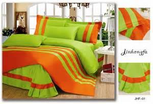 2014 new solid color 4pcs comforter bedding set queen king size fruit green and orange stripe jpg