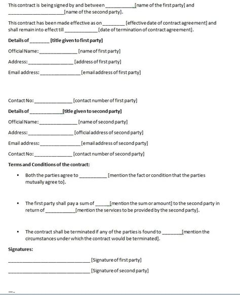 contract agreement template between two free contract templates word pdf agreements