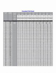Standard Size Of Resume Conduit Fill Chart Template Free Download