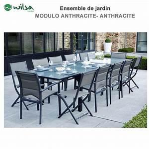 Salon De Jardin 12 Places : salon de jardin modulo 8 12 places gris f12 1 ~ Teatrodelosmanantiales.com Idées de Décoration