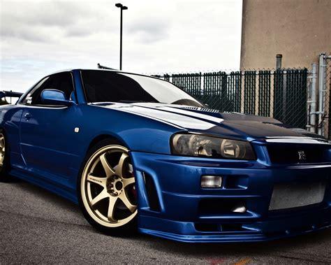 nissan skyline gtr  blauen auto seitenansicht