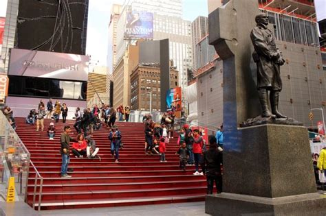 man takes upskirt photo  tkts stairs  pretending
