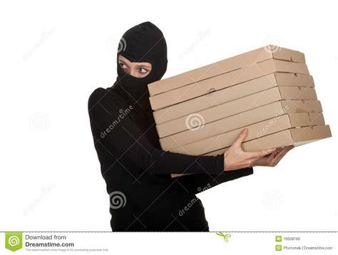 female thief  boxes  pizza stock photo image