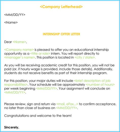 internship offer appointment letter template
